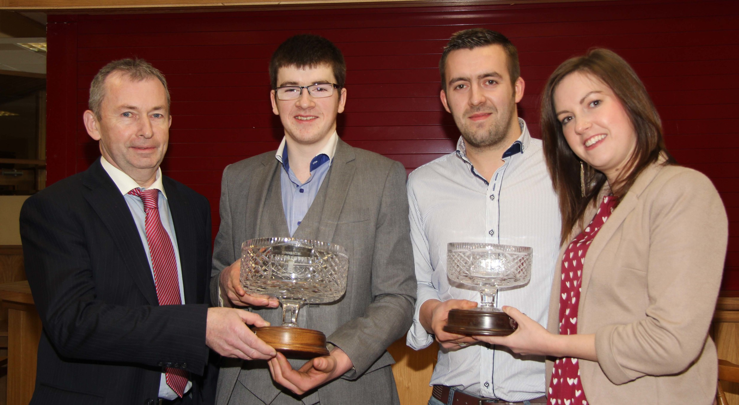 Andrew Tecey, Danske Bank, presents the male and reserve male of the year awards to Jamie and Christopher Boyd, and Adele McKeown, Slievenagh Herd, Portglenone.