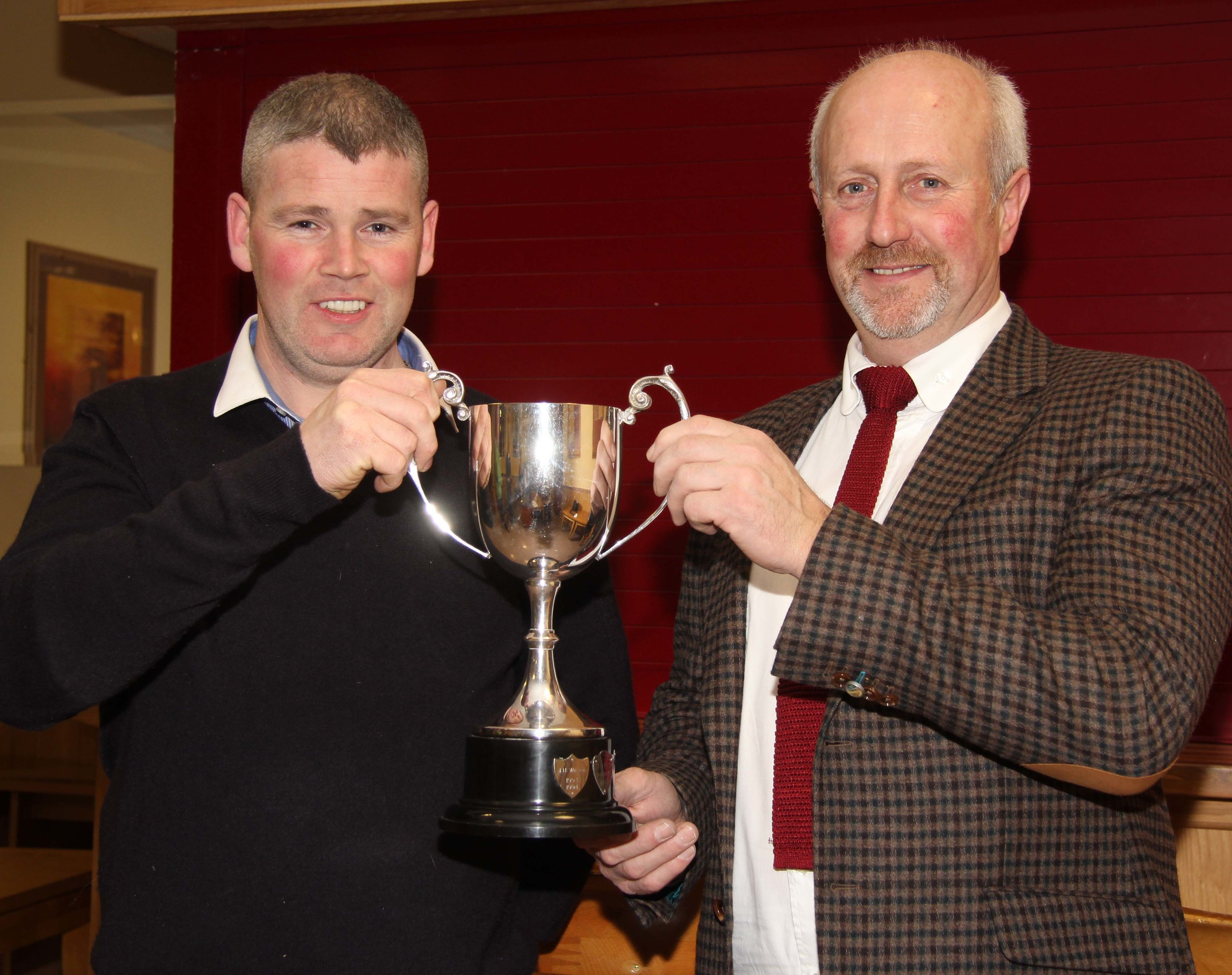 Eamon McCloskey exhibited the female champion at the club's spring show and sale. He received his award from Nigel Glasgow, Millburn Concrete, sponsor.