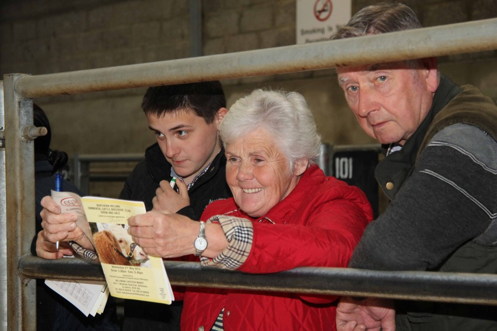 Simmental breeders Jason Whitcroft, with Thelma and Peter Gorman, from Armagh, at the NI Simmental Club's evening show and sale in Ballymena. Picture: Julie Hazelton
