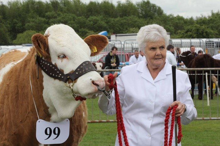 Thelma Gorman, Armagh, with her first prize winning heifer Woodford Penny.