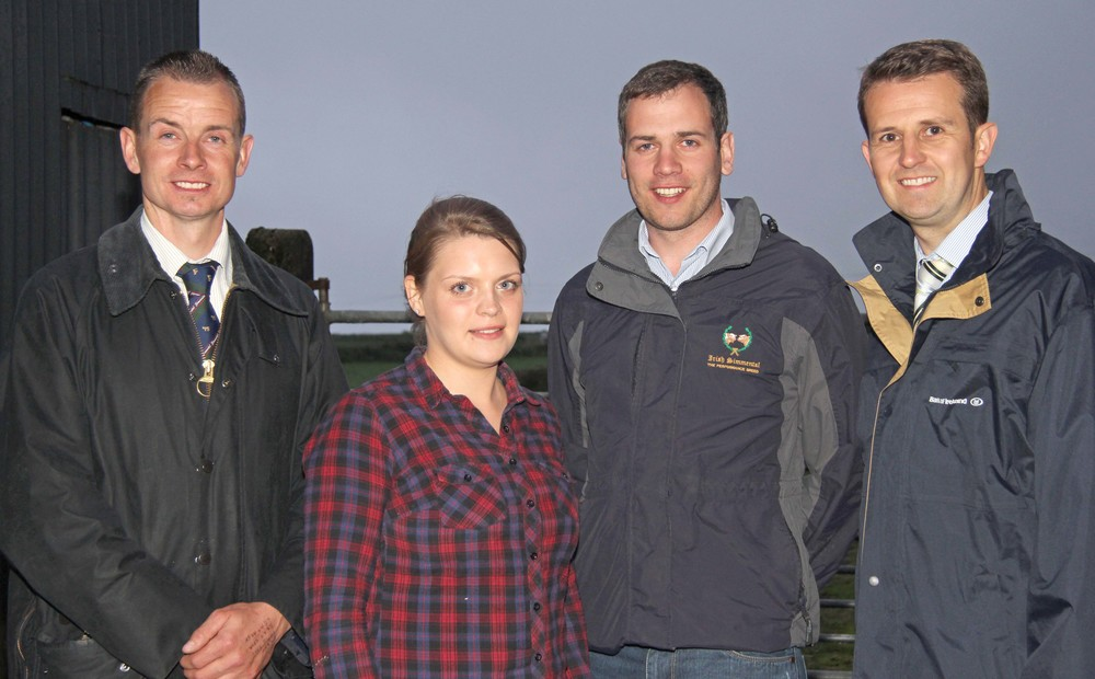 Senior stockjudging winners Zara Stubbs, Irvinestown; and Shane McDonald, Tempo, were congratulated by NI Simmental Club chairman Richard Rodgers; and sponsor William Thompson, Bank of Ireland.