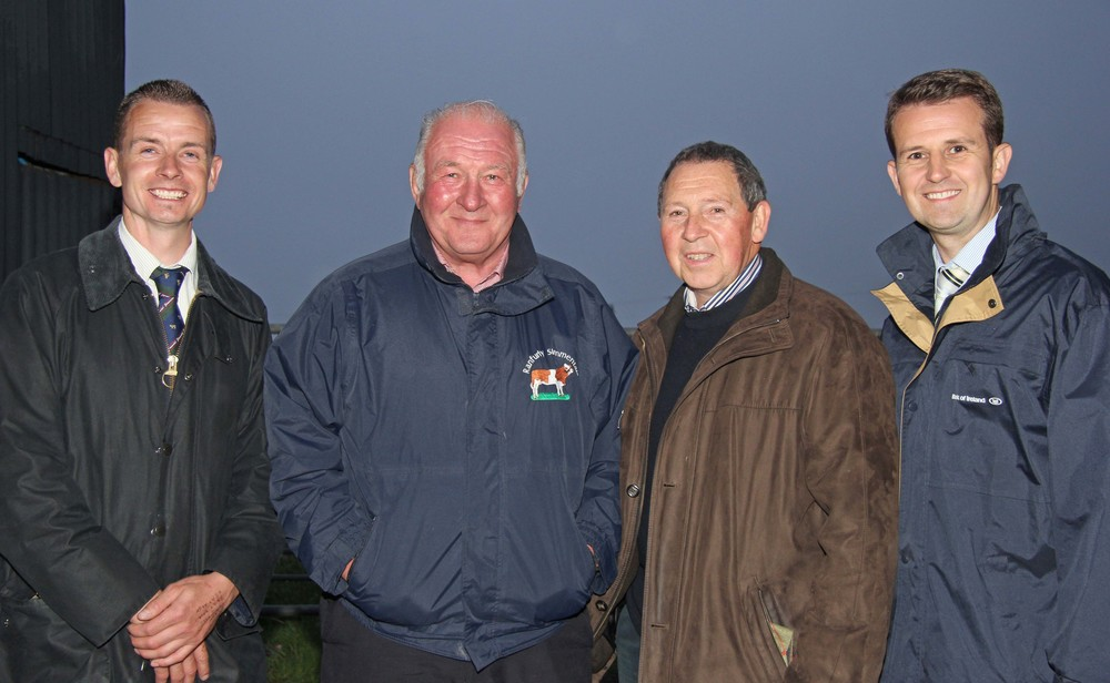 Open class stockjudging winners Pat Kelly, Tempo; and David Hazelton, Dungannon, were congratulated by NI Simmental Club chairman Richard Rodgers; and sponsor William Thompson, Bank of Ireland.