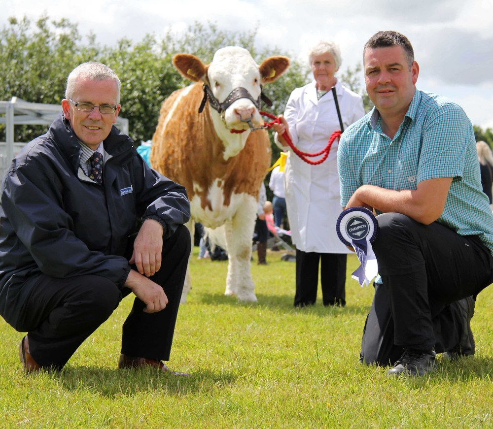 John Henning, head of agricultural relations, Danske Bank, confirms sponsorship of the Simmental Club's Male and Female of the Year Awards, with committee member Keith Nelson. Looking on is committee member Thelma Gorman.