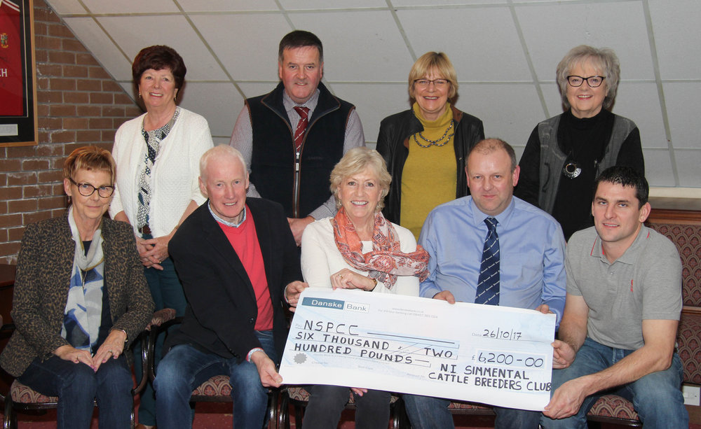 The NI Simmental Cattle Breeders' Club has presented a cheque for £6,200 to the NSPCC. Chairman Matthew Cunning, vice chairman Conrad Fegan, treasurer Leslie Weatherup, and secretary Robin Boyd, are pictured with Jennifer Hobson, chairman, and members of the NSPCC's Dungannon fund raising committee.