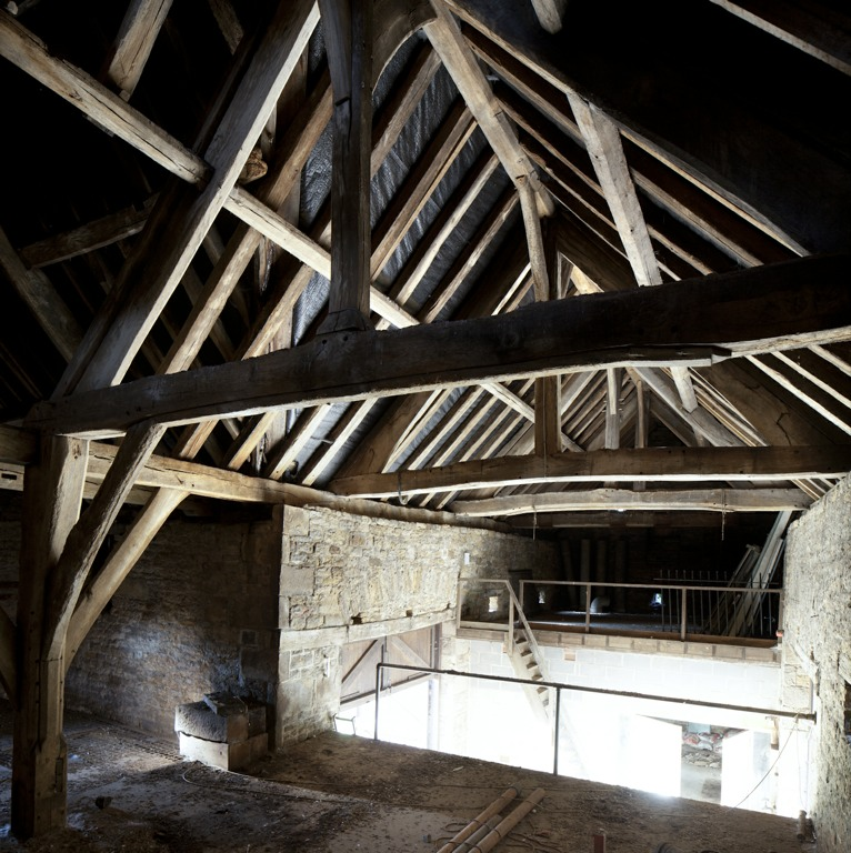 Dronfield Hall Barn Interior Medieval Framework.jpg