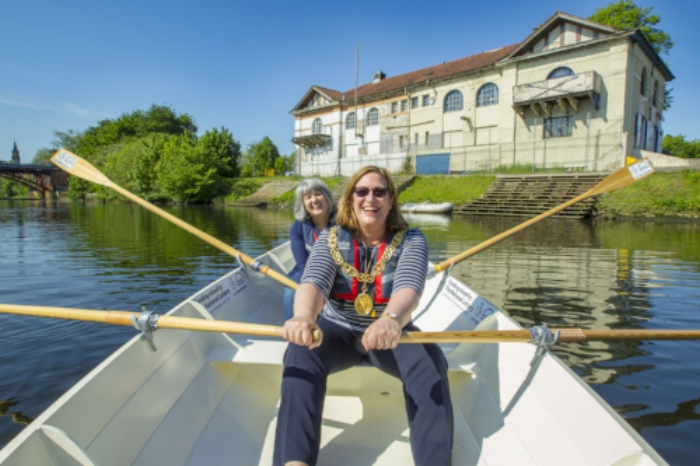 The Lord Provost of Glasgow, Eva Bolander and Glasgow Building Preservation Trust's Anne McChlery celebrate the award of a grant from the National Lottery for the rejuvenation of the West Boathouse on Glasgow Green. Credit Peter Devlin (file available from: andrew@gbpt.org)