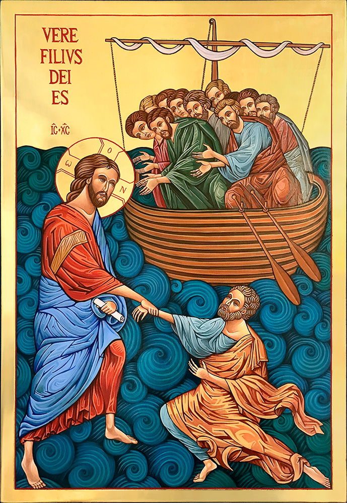 Icon of Christ with  St Peter in the Waves 73 x 50 cm NZD$5,475.00   Enquire