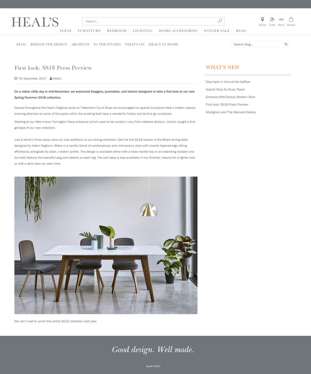 Heal's SS18 Press Review - December 2017  Blake Dining Table