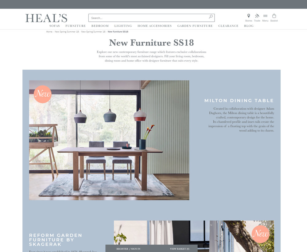 Heal's SS18 Launch - February 2018  Milton Dining Table