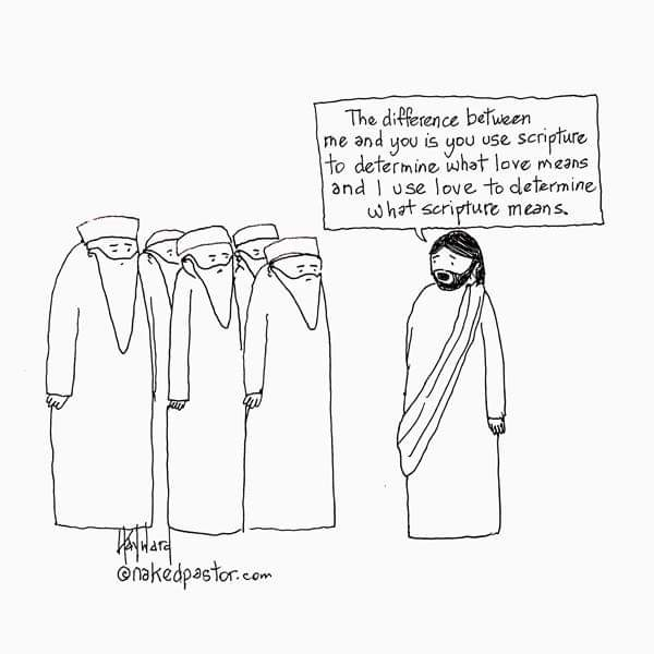 This cartoon was featured in the talk. It is by David Hayward and I recommend you check out his work at https://nakedpastor.com/.