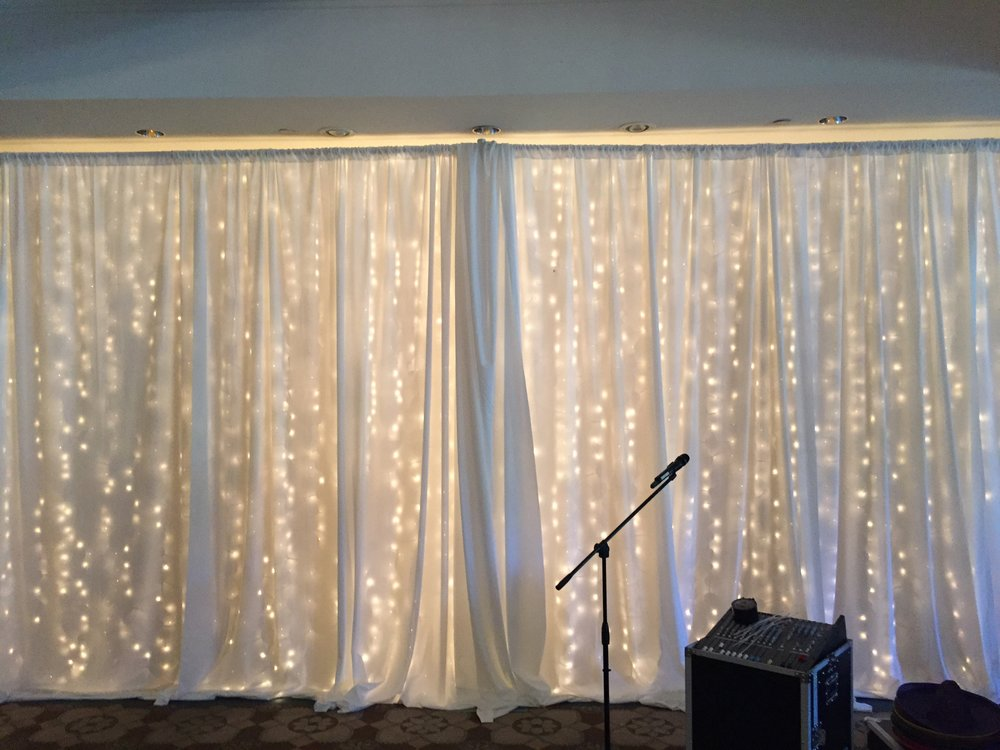 Lighting behind White Pipe and Drape