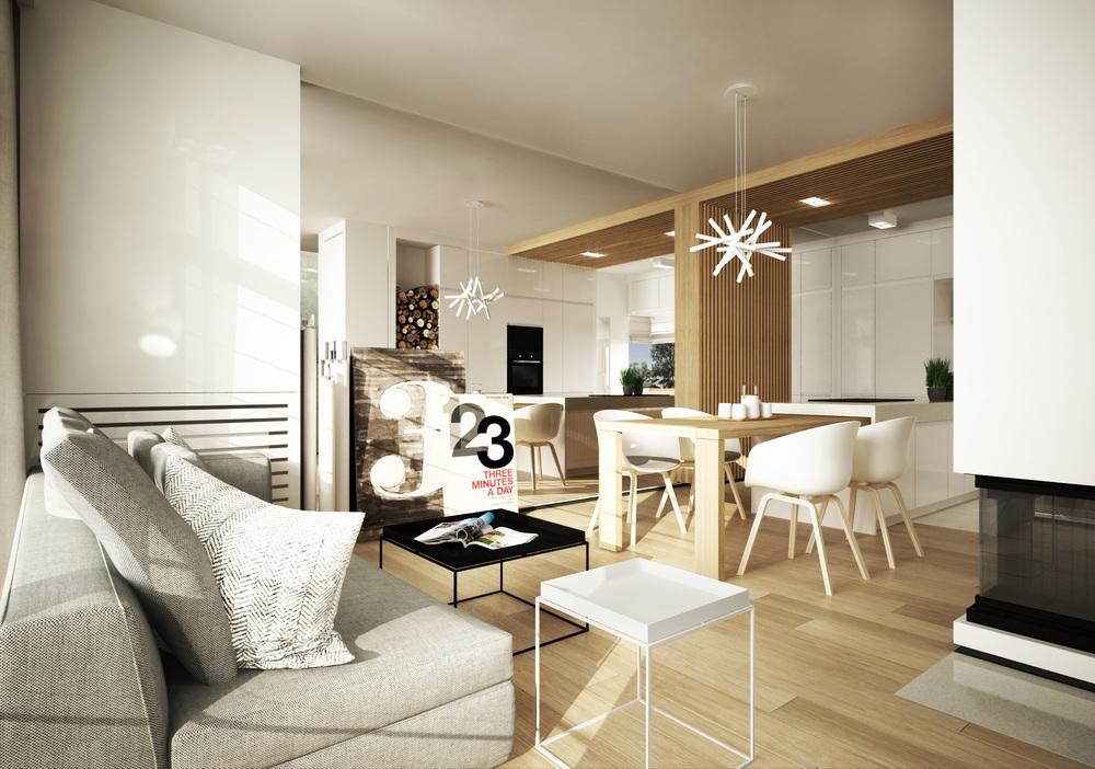 DOM BLUSZCZAŃSKA    Codzienność w eleganckim wydaniu – połączenie stylistyki skandynawskiej z prostą modernistyczną formą.   Galeria