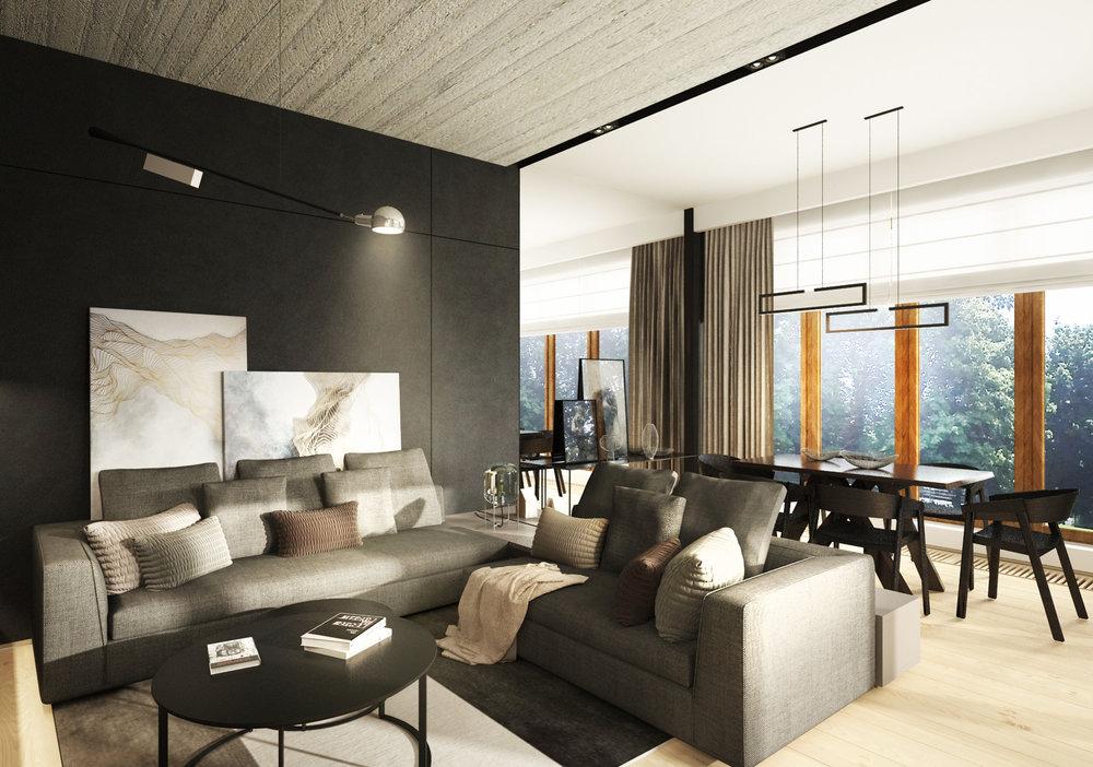 APARTAMENT OCHOTA    Dwupoziomowy apartament, którego surowy charakter ocieplony został jasnymi dębowymi materiałami.   Galeria