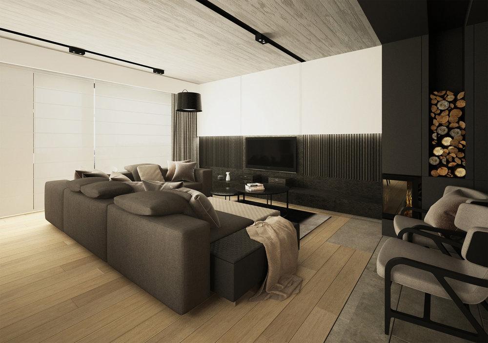 DOM BIAŁOŁĘKA   Intrygujące połączenie surowego betonu z drewnem sprawiło, że nowoczesne wnętrze zostało udomowione.   Galeria