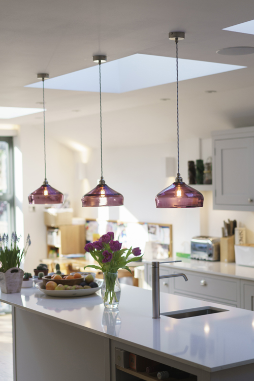 Coloured Glass Kitchen Pendant Lights