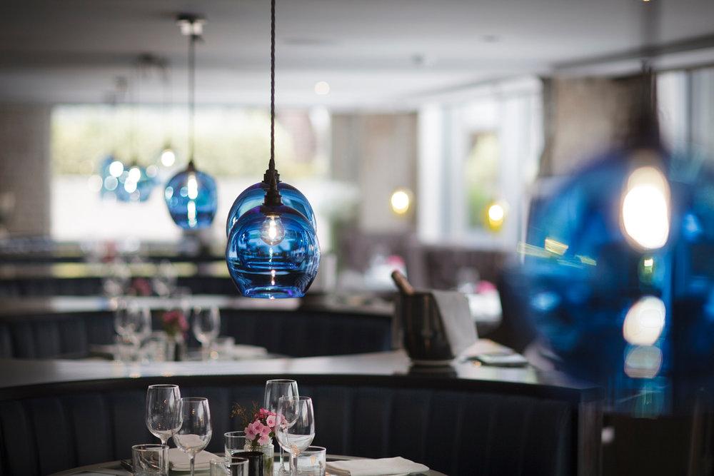 Round Blue Glass Pendant Lights