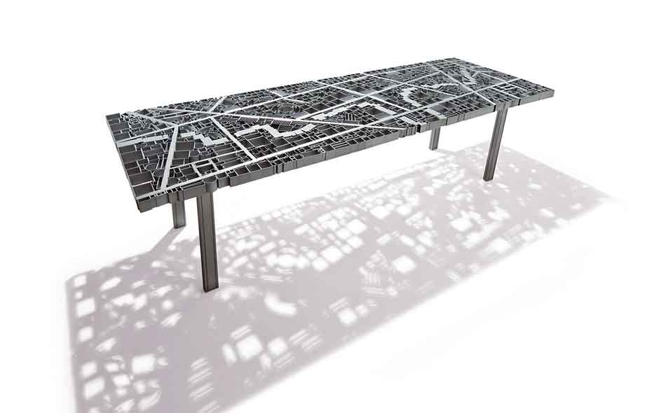 18/20 The Baghdad table by Ezri Tarazi is constructed of hundreds of industrial steel sections welded into place to represent the map of the Iraqi capital.
