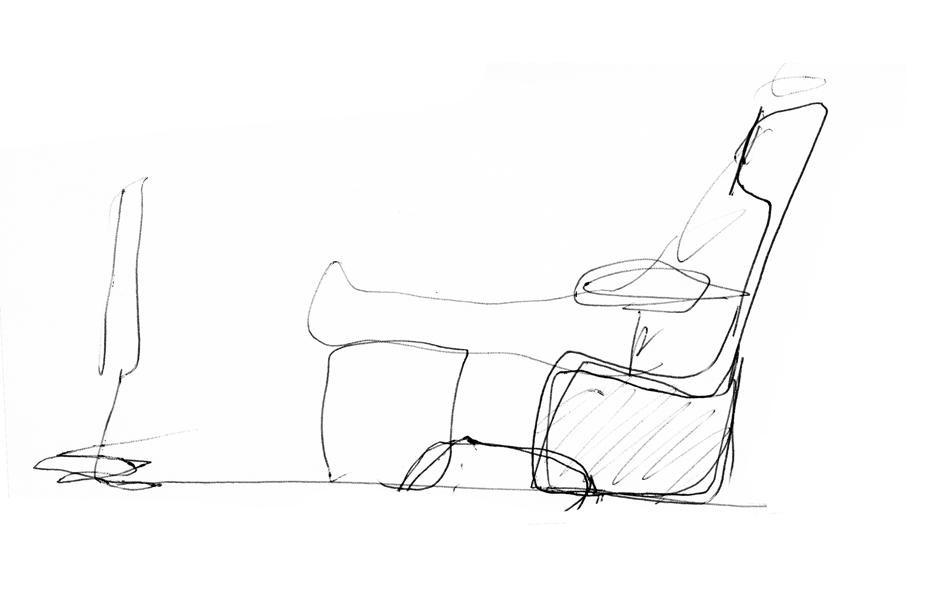 1/12 A sketch by Naoto Fukasawa of the Papilio armchair.