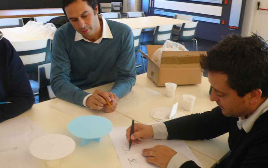 6/12 Edward Barber and Jay Osgerby at B&B Italia's R&D Headquarters during the development of Tobi-Ishi.