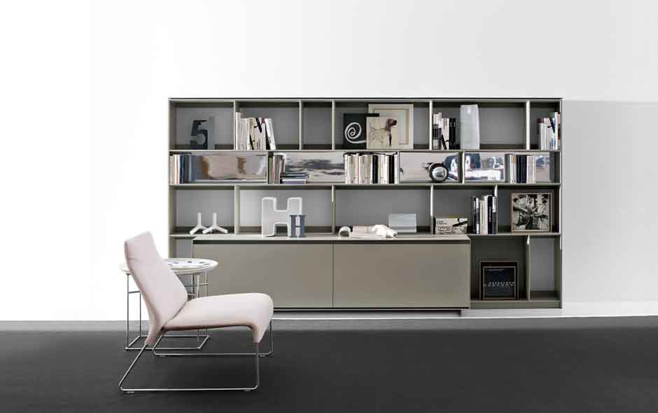 3/4 The Flat C storage system by B&B Italia has a scratch-resistant surface that was developed in the group's new high-tech factory.
