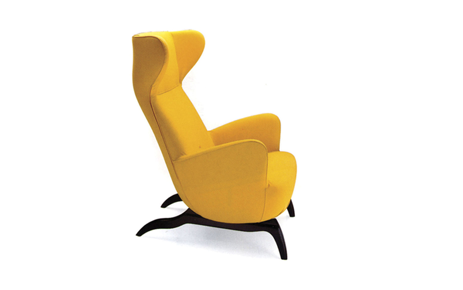 7/7 The Ardea armchair is a classic wingback chair first designed by Carlo Mollino in 1944 and added to the Zanotta collection 50 years later in 1994.