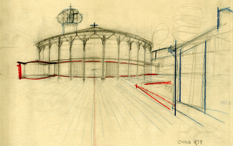 6/6 Sketch of the Santa Maria Nascente Church by Vico Magistretti.