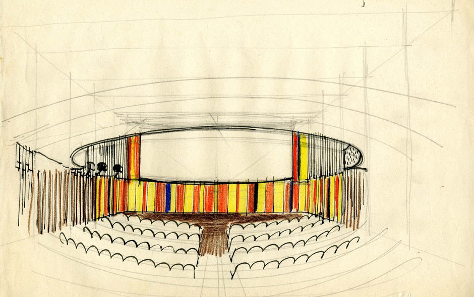 4/6 Sketch of the Modena film theatre by Vico Magistretti.