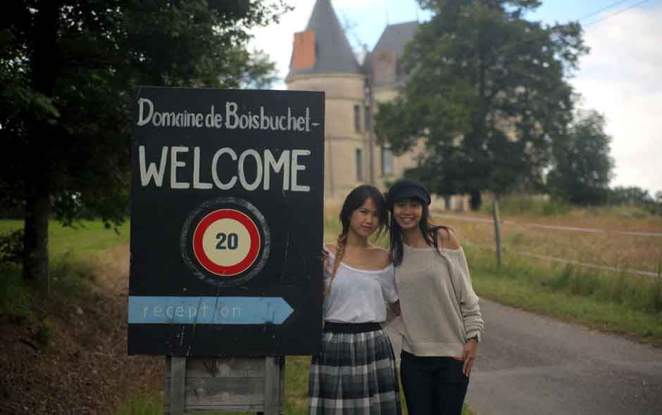 2/11 Design students Loh Jia Hui and Ng Shin Luey arrive at the picturesque Domaine de Boisbuchet to take part in the summer workshop program.