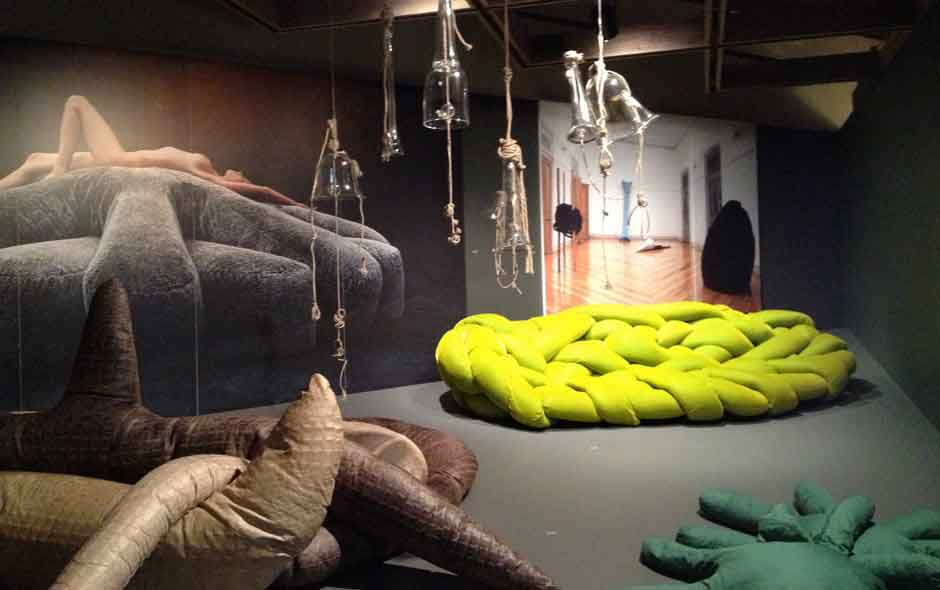 1/4 Antibodies: The Works of Fernando and Humberto Campana featuring the Kaiman Jakare, Aster Papposus and Boa sofas on show at the Palm Springs Art Museum.