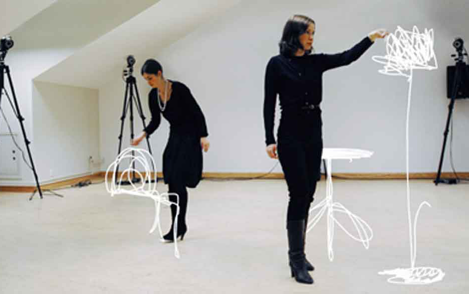 1/5 The experimental Sketch Furniture project involved the integration of motion capture technology to translate lines drawn in the air into 3-D rapid prototyping models.