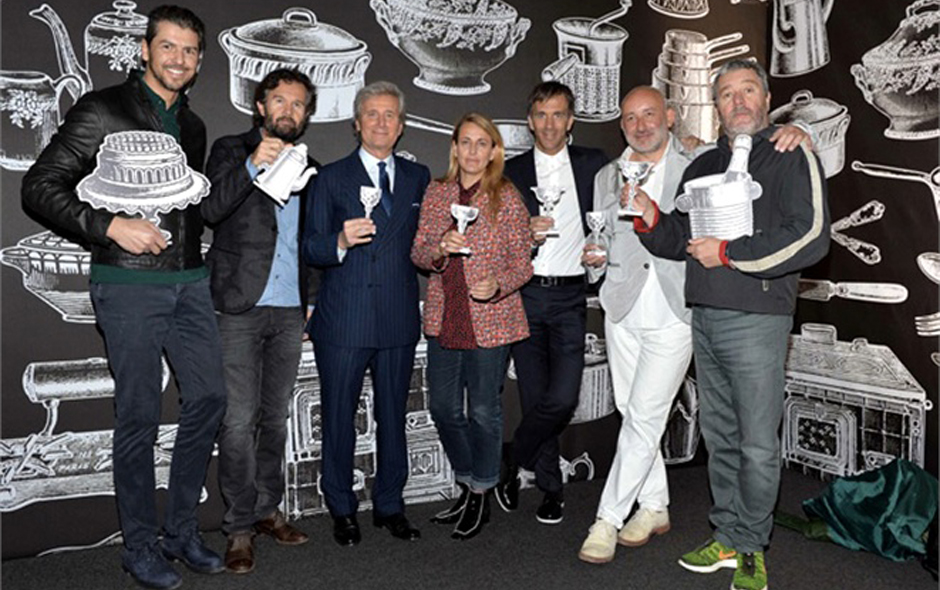 6/6 Chefs Andrea Barton and Carlo Cracco, head of Kartell Claudio Luti, Patricia Urquiola, chef Davide Oldani, and Jean-Marrie Massaud and Philippe Starck.