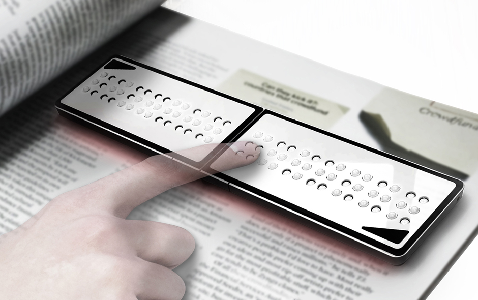 3/4 The Braille Reader by Juchun Jung allows the vision impaired to read the printed page.
