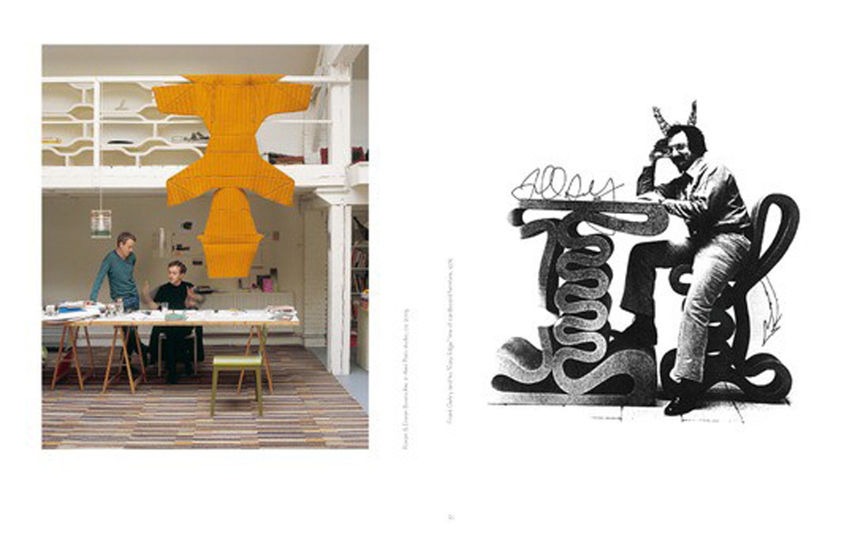 3/6 Ronan and Erwan Bouroullec in their Paris studio and Frank Gehry sitting on his cardboard Wiggle Side Chair first released in 1972.