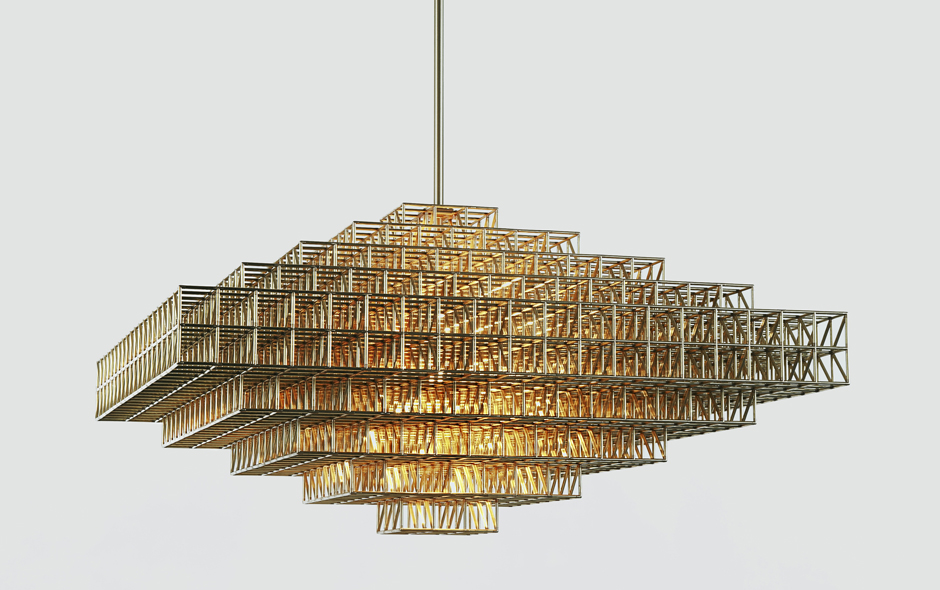 2/3 The structurally raw Gridlock chandelier by Philippe Malouin for Roll & Hill.