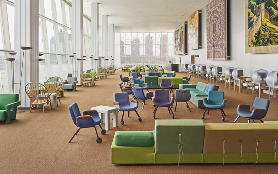 1/2 The UN Lounge designed by Hella Jongerius and Rem Koolhaas features the chair that inspired the East River Chair for Vitra.