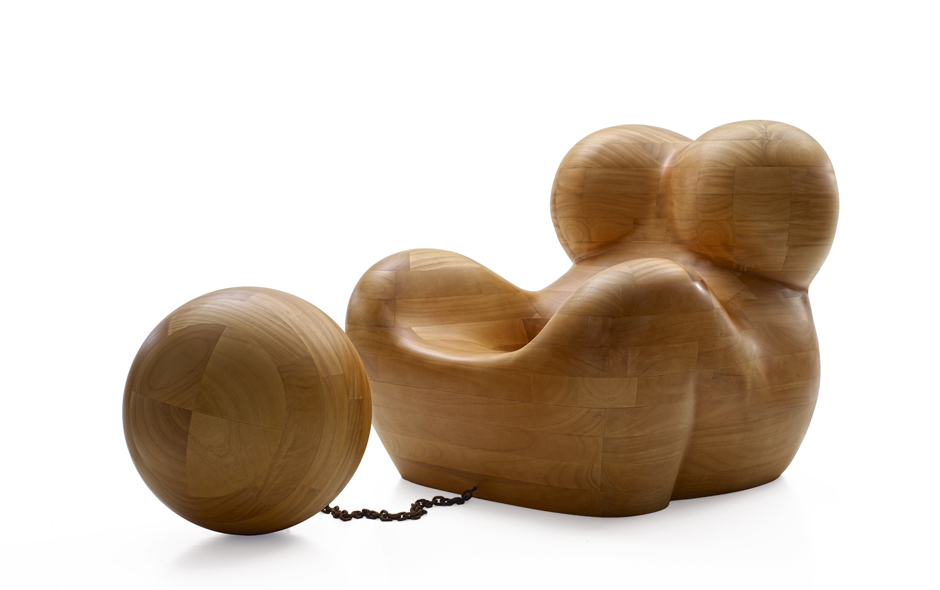 1/3 UP 5 armchair and UP 6 ottoman by Gaetano Pesce in solid wood, realised by B&B Italia.