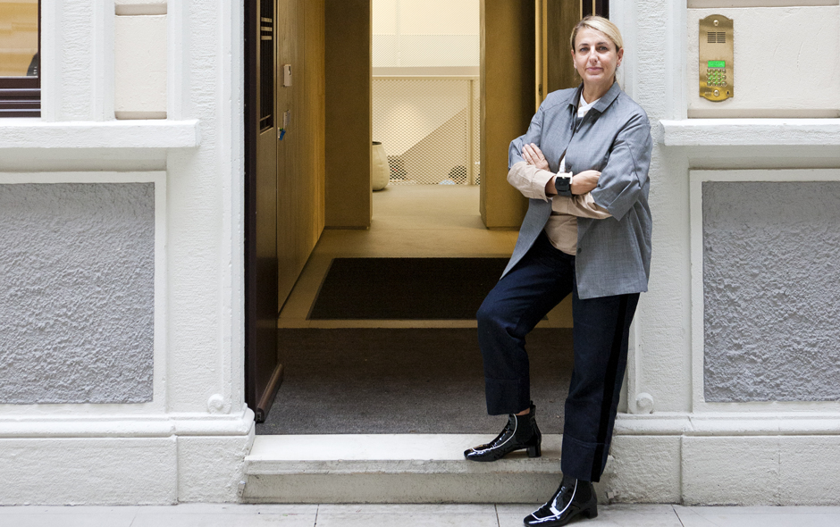 Patricia Urquiola on the doorstep of her new Milan studio.