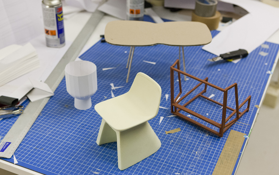 Furniture is modelled at scale to test an approach and explore an idea.