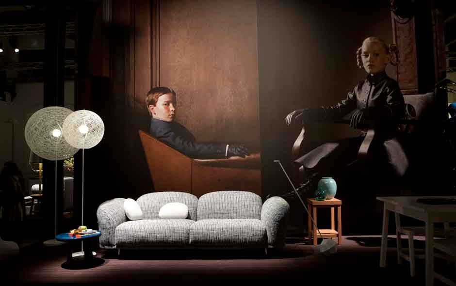 1/5 Cloud sofa by Marcel Wanders, Random Light Led floor lamp by Bertjan Pot. Portraits by Erwin Olaf.