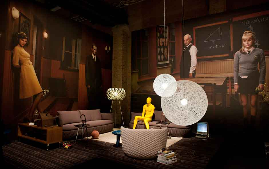 2/5 Bart sofa by Moooi Works and Bart Schilder. Random Light by Bertjan Pot and Dandelion floor lamp by Richard Hutten. Portraits by Erwin Olaf.