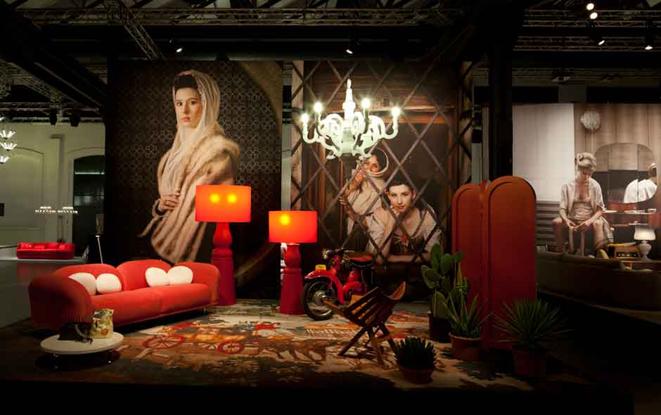 4/5 Cloud sofa and Farooo lamp by Marcel Wanders, Paper Chandelier by Studio Job. Portrait by Erwin Olaf.