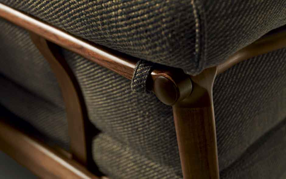 3/8 Detail of the Derby sofa highlighting the carefully detailed timber workmanship.