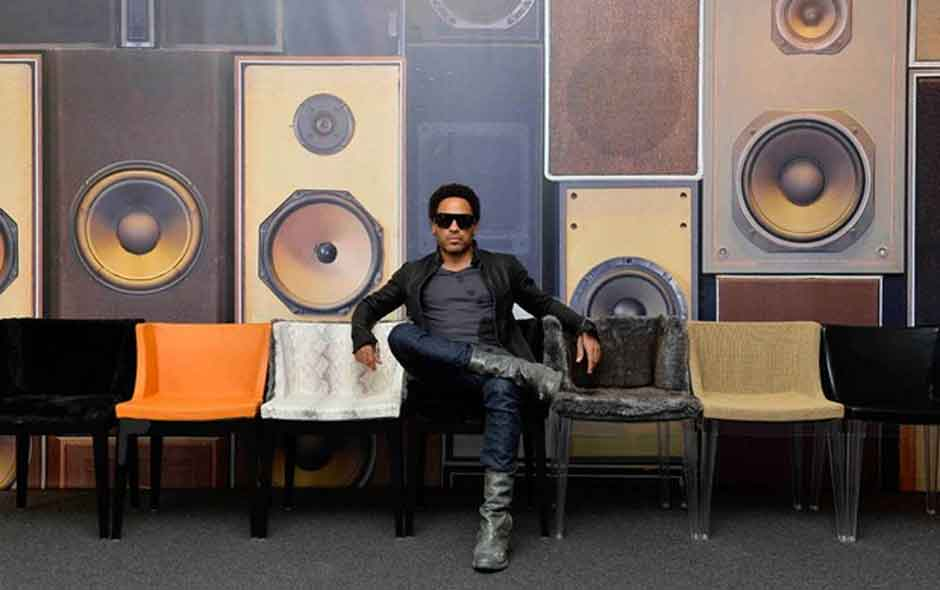 3/5 Lenny Kravitz and Philippe Starck teamed together to work with Kartell, launching the Mademoiselle collection in fur and leather at the Milan Furniture Fair this year.