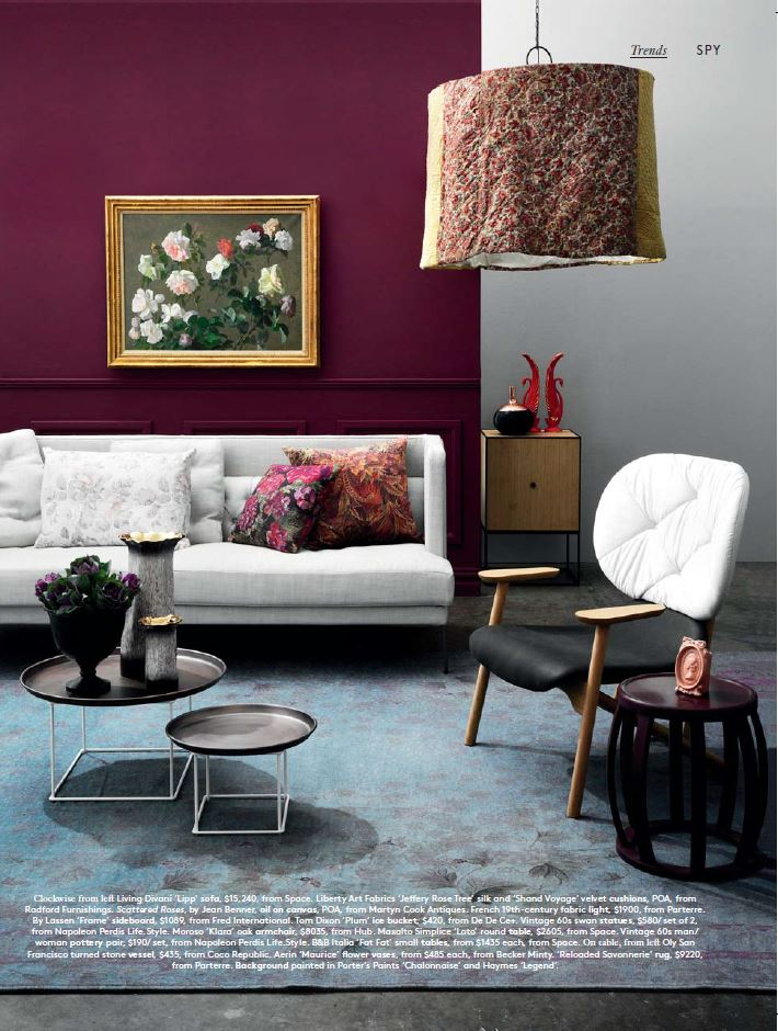 Steve include the Maxalto Simplice Loto side table in this shoot in the July 2015 issue of  Belle  magazine.