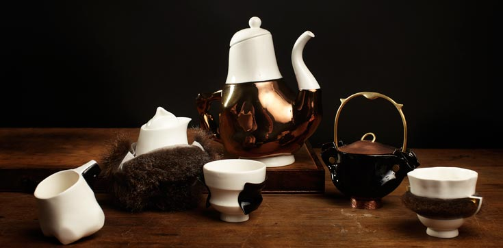The Briggs family tea service by trent jansen is showing at the 'new craft' exhibition.
