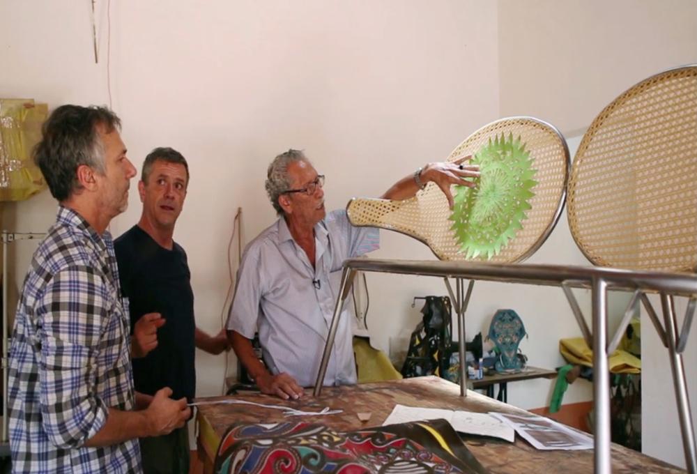 Inside the studio of Espedito with design collaborators Fernando and Humberto campana.