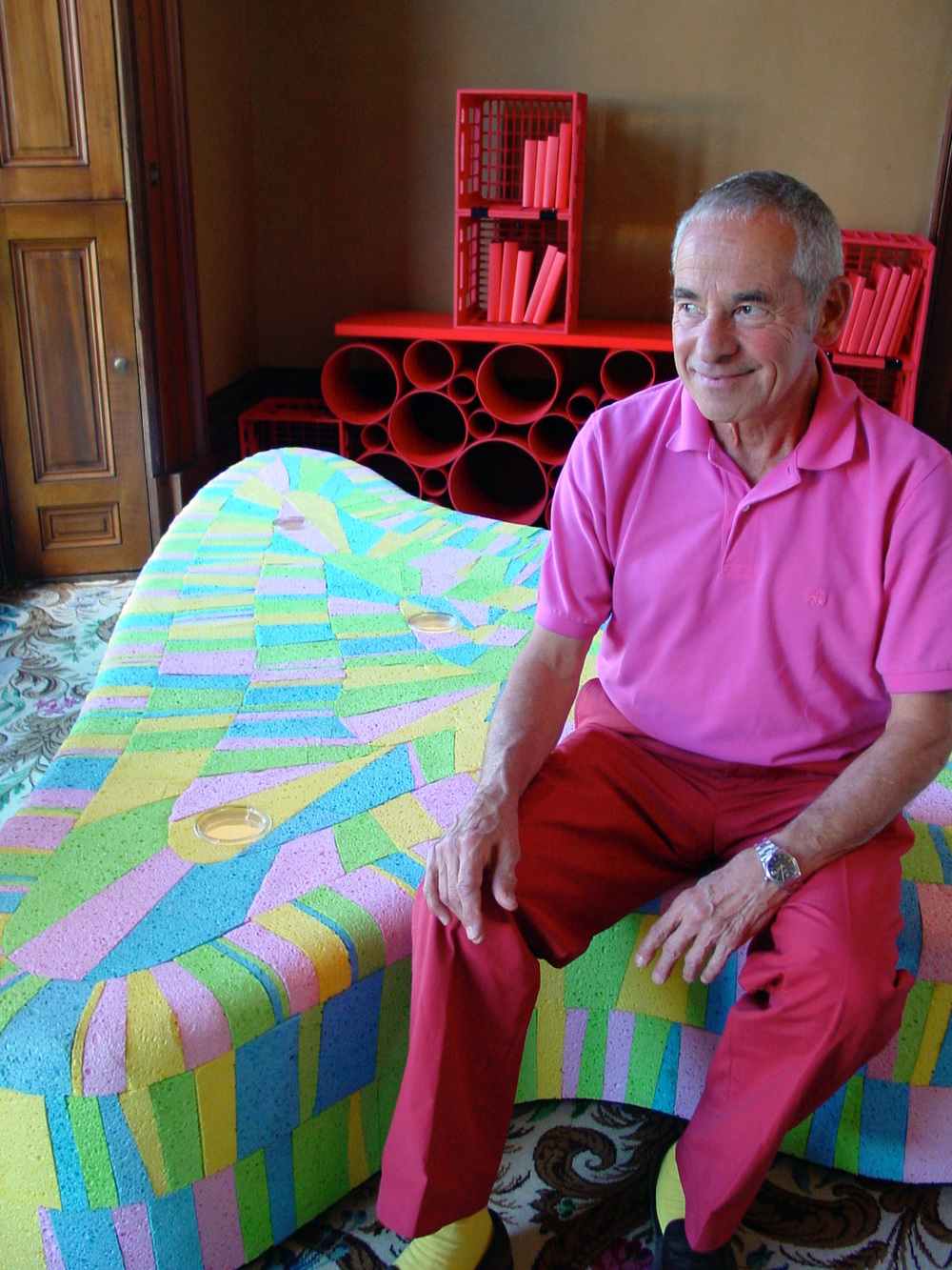 George on his colourful kitchen sponge ottoman at the Changing Spaces exhibition organised by the Historic Houses Trust and held at Elizabeth Bay House in 2006. Photo by Jody Pachniuk.