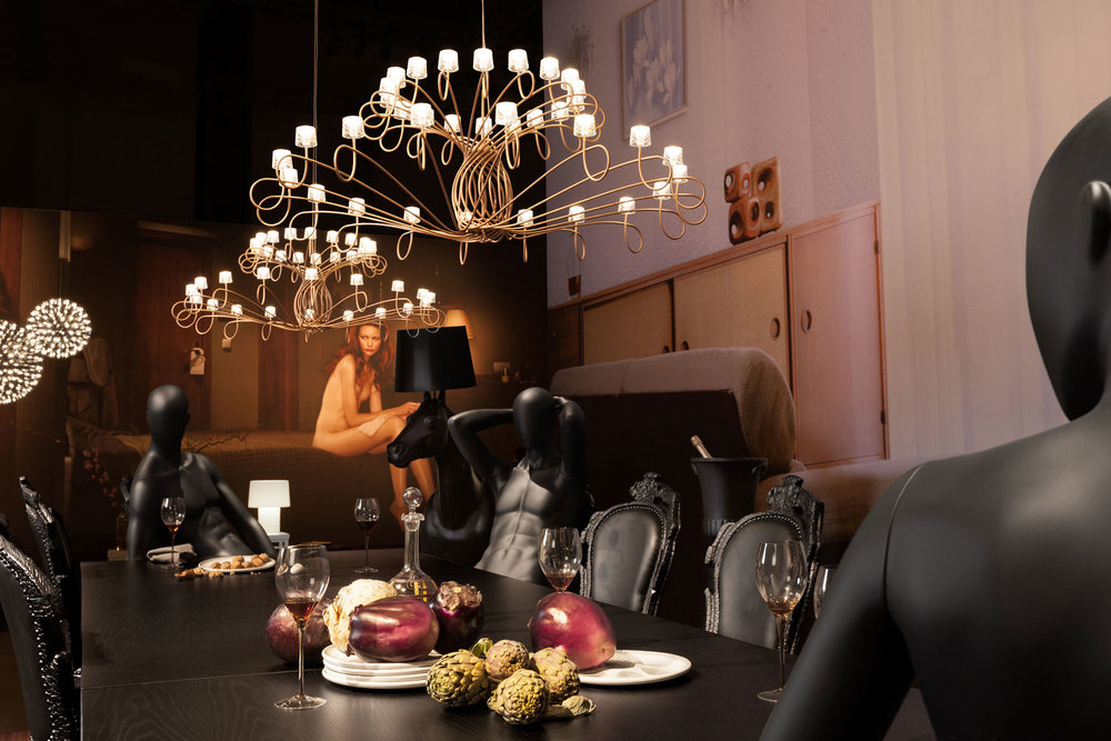 A surreal dinner party scene from the 2013 Milan Moooi exhibit. Photo: Peer Lindgreen