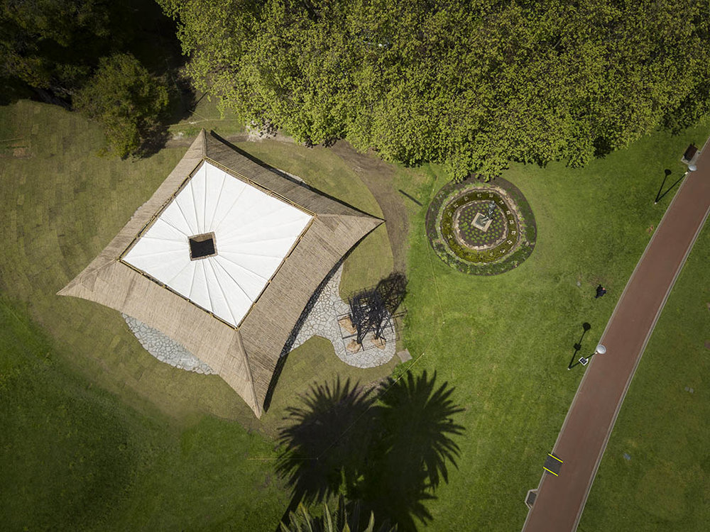 Aerial shot of the MPavilion 2016. Photo: John Gollings