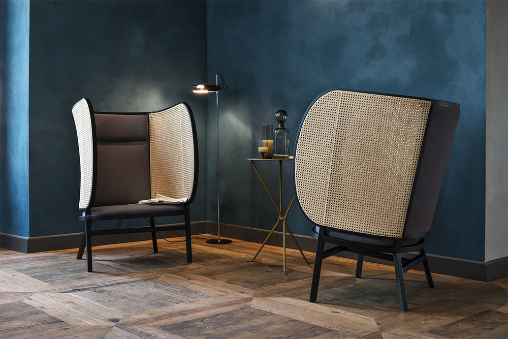 Front's Hideout Lounge Chair is a new take on the classic wing-back chair from the early 1900s.
